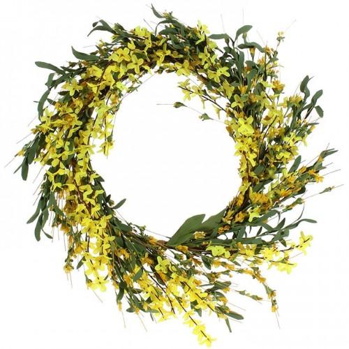 """RAZ Imports 16"""" Forsythia Wreath"""