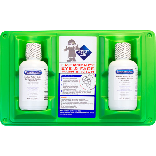 2X 16 oz. Single Bottle Eye Wash Station with Wall Mount